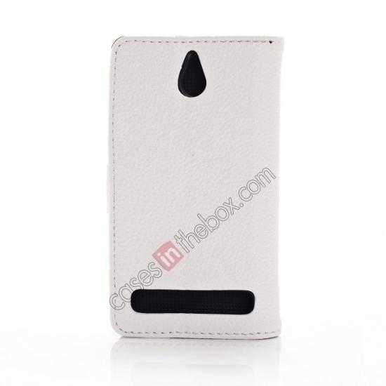 cheap Lychee Skin Wallet Leather Case w/ Stand for Sony Xperia E1 - White