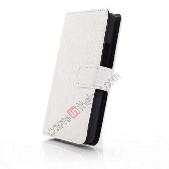 top quality Lychee Skin Wallet Leather Case w/ Stand for Sony Xperia E1 - White