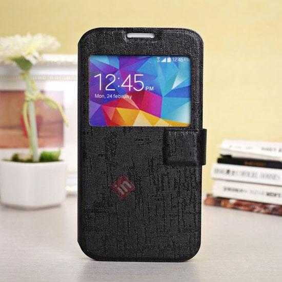 wholesale Magnet Button Leather Window S View Stand Case for Samsung Galaxy S5 - Black