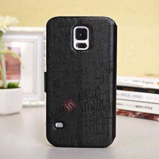 discount Magnet Button Leather Window S View Stand Case for Samsung Galaxy S5 - Black