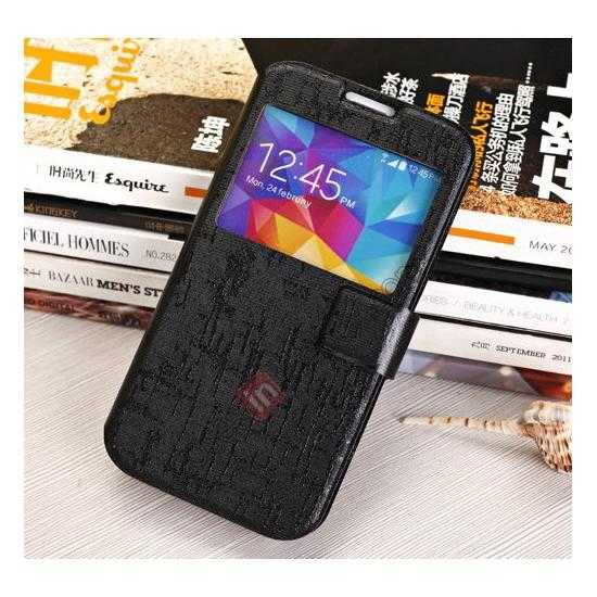 cheap Magnet Button Leather Window S View Stand Case for Samsung Galaxy S5 - Black