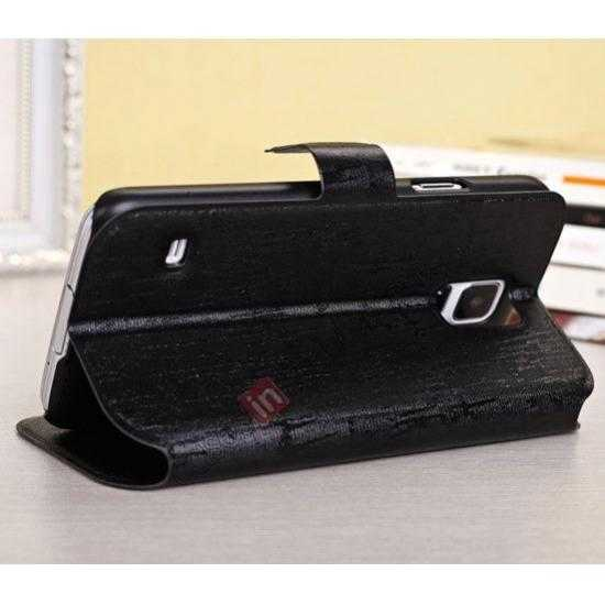 top quality Magnet Button Leather Window S View Stand Case for Samsung Galaxy S5 - Black