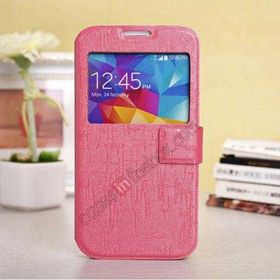 wholesale Magnet Button Leather Window S View Stand Case for Samsung Galaxy S5 - Rose