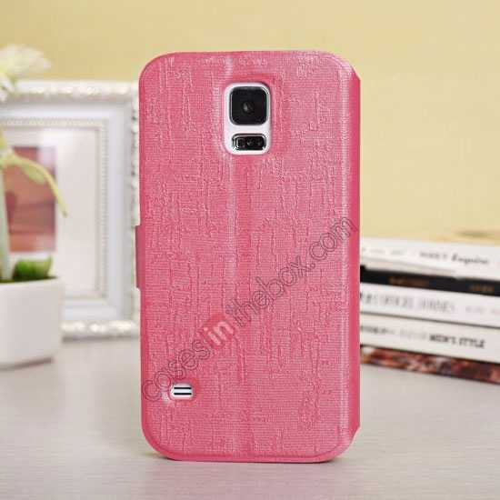 discount Magnet Button Leather Window S View Stand Case for Samsung Galaxy S5 - Rose