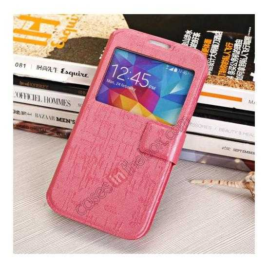 cheap Magnet Button Leather Window S View Stand Case for Samsung Galaxy S5 - Rose