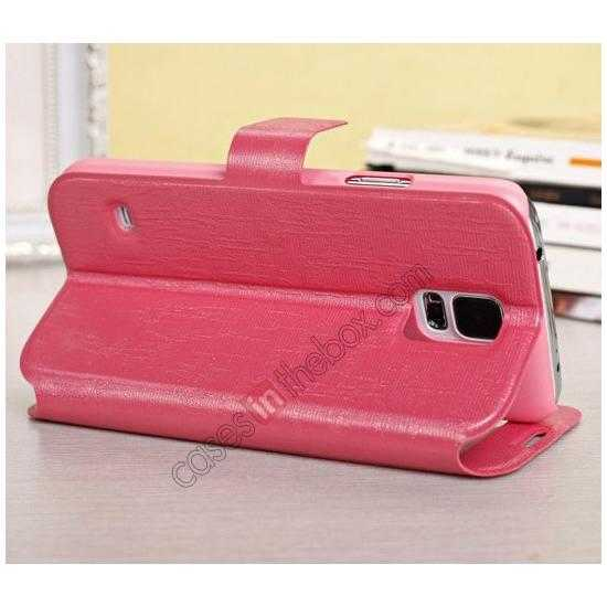 top quality Magnet Button Leather Window S View Stand Case for Samsung Galaxy S5 - Rose