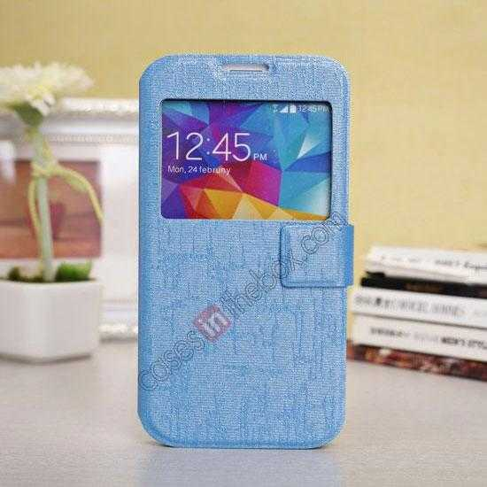wholesale Magnet Button Leather Window S View Stand Case for Samsung Galaxy S5 - Sky Blue