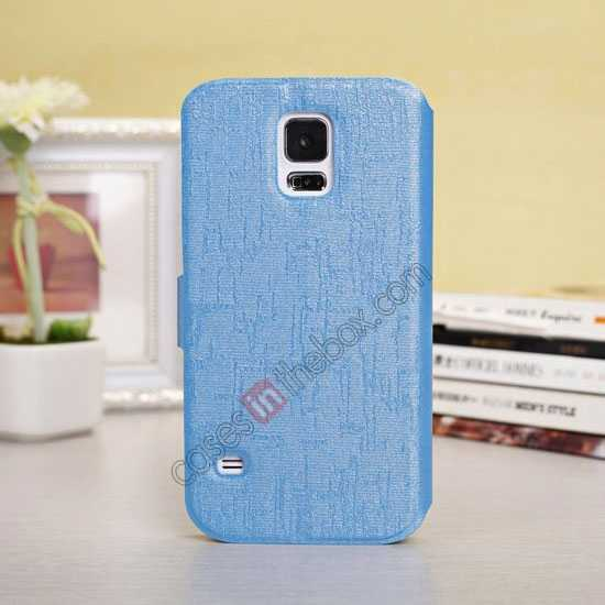 discount Magnet Button Leather Window S View Stand Case for Samsung Galaxy S5 - Sky Blue
