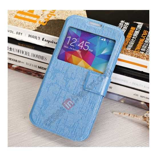 cheap Magnet Button Leather Window S View Stand Case for Samsung Galaxy S5 - Sky Blue