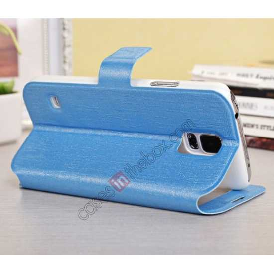 top quality Magnet Button Leather Window S View Stand Case for Samsung Galaxy S5 - Sky Blue