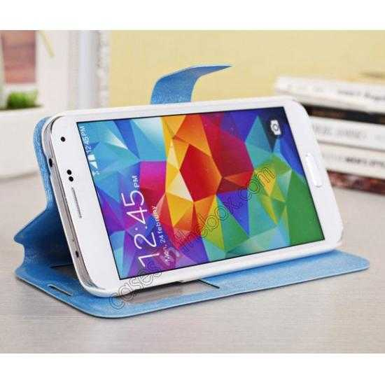 best price Magnet Button Leather Window S View Stand Case for Samsung Galaxy S5 - Sky Blue