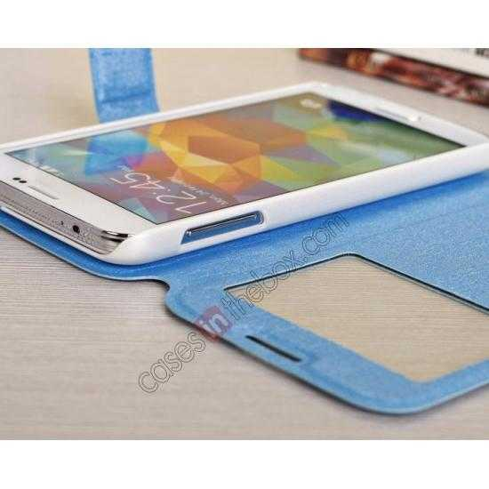 on sale Magnet Button Leather Window S View Stand Case for Samsung Galaxy S5 - Sky Blue