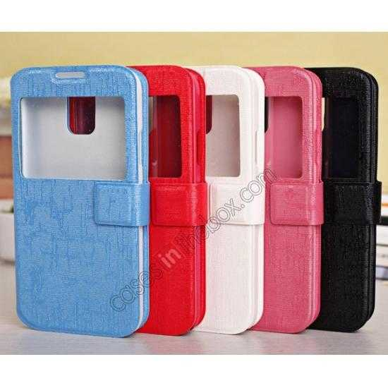 low price Magnet Button Leather Window S View Stand Case for Samsung Galaxy S5 - Sky Blue