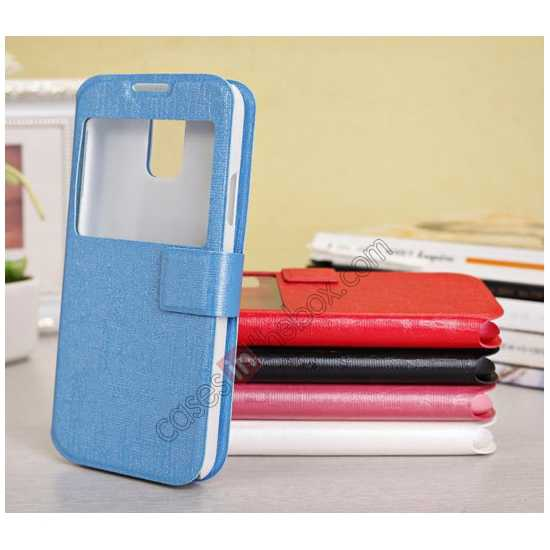 high quanlity Magnet Button Leather Window S View Stand Case for Samsung Galaxy S5 - Sky Blue