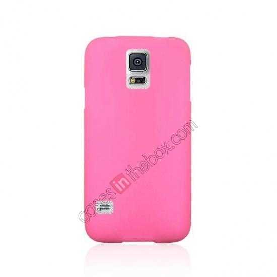 cheap Matte Frosted Soft TPU Gel Back Case Cover For Samsung Galaxy S5 - Pink