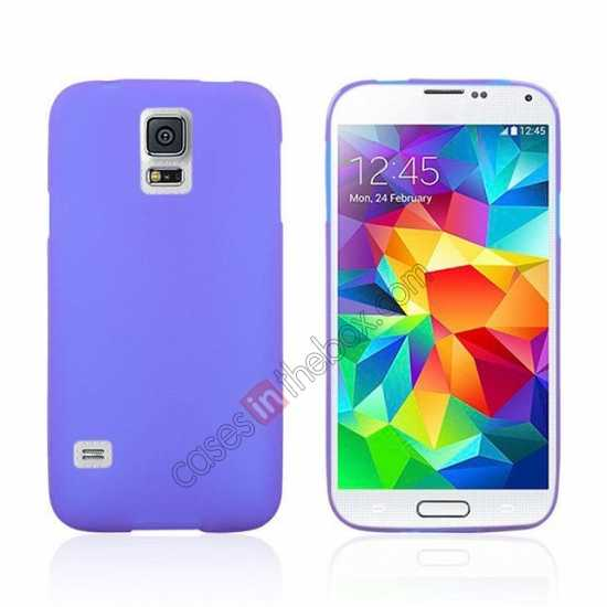 wholesale Matte Frosted Soft TPU Gel Back Case Cover For Samsung Galaxy S5 - Purple