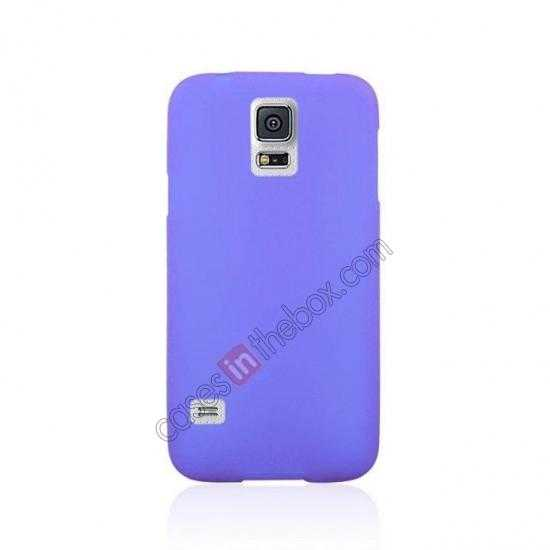 cheap Matte Frosted Soft TPU Gel Back Case Cover For Samsung Galaxy S5 - Purple