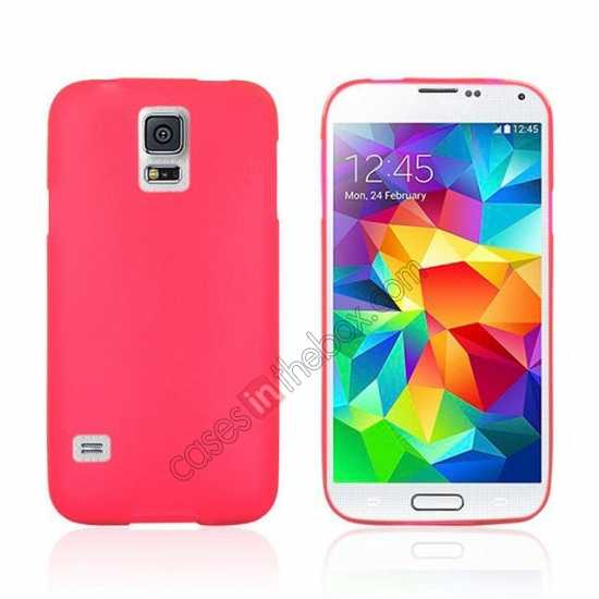wholesale Matte Frosted Soft TPU Gel Back Case Cover For Samsung Galaxy S5 - Red