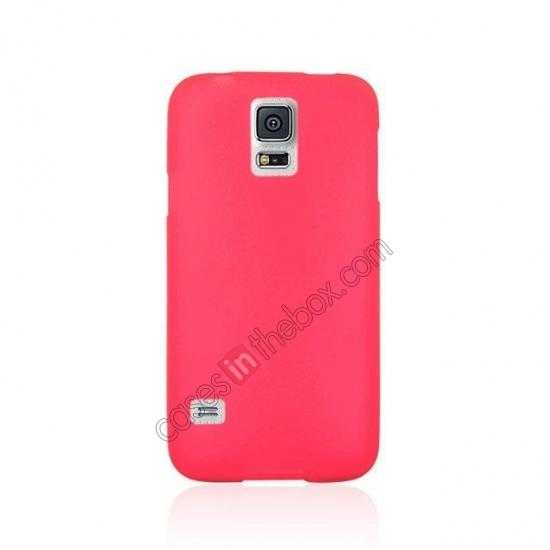 cheap Matte Frosted Soft TPU Gel Back Case Cover For Samsung Galaxy S5 - Red