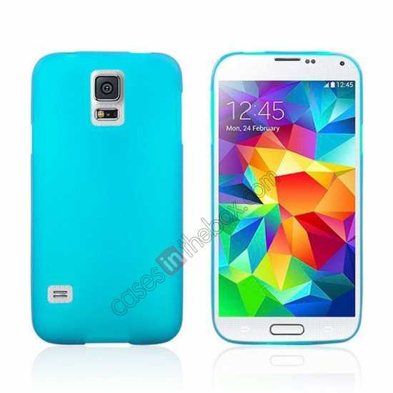 wholesale Matte Frosted Soft TPU Gel Back Case Cover For Samsung Galaxy S5 - Sky Blue