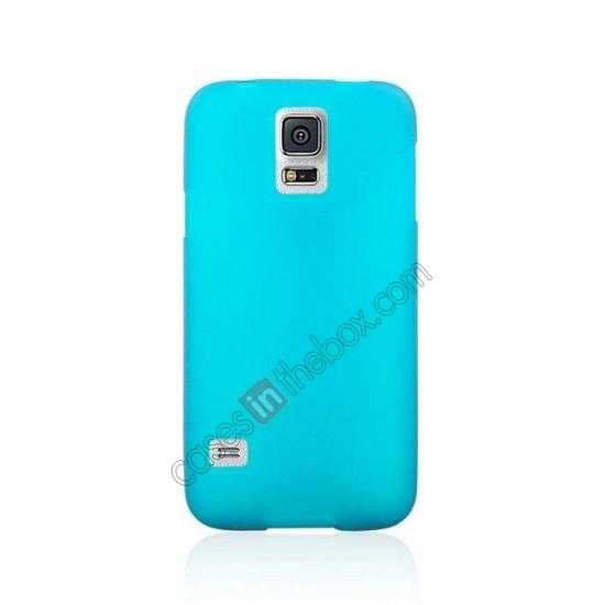 cheap Matte Frosted Soft TPU Gel Back Case Cover For Samsung Galaxy S5 - Sky Blue