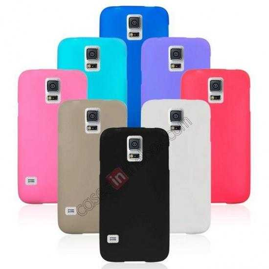 best price Matte Frosted Soft TPU Gel Back Case Cover For Samsung Galaxy S5 - Sky Blue