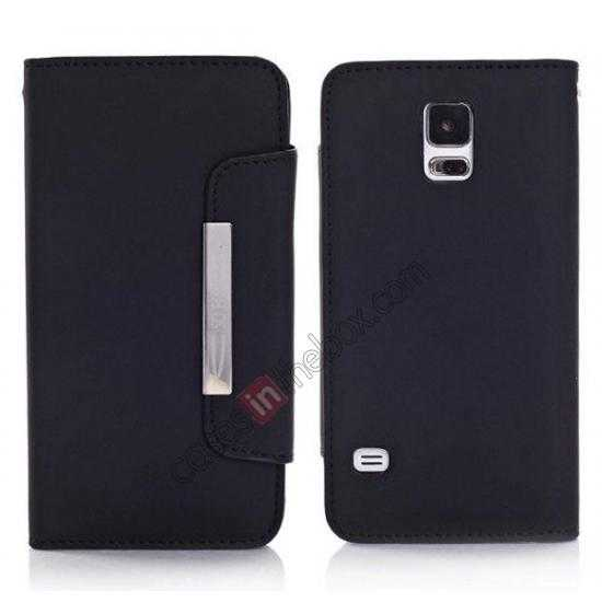 wholesale Matte Skin Leather Flip Wallet Case Cover for Samsung Galaxy S5 G900 - Black