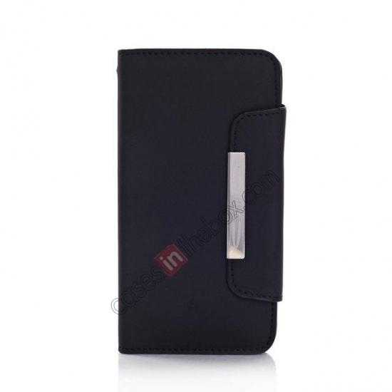 discount Matte Skin Leather Flip Wallet Case Cover for Samsung Galaxy S5 G900 - Black