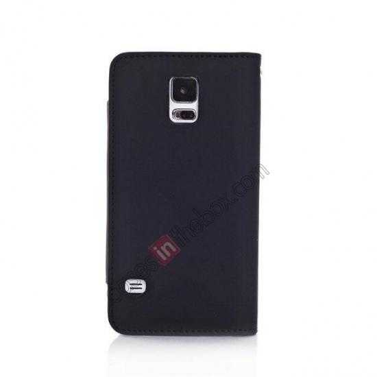 cheap Matte Skin Leather Flip Wallet Case Cover for Samsung Galaxy S5 G900 - Black