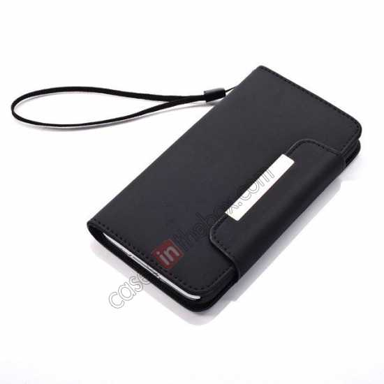 top quality Matte Skin Leather Flip Wallet Case Cover for Samsung Galaxy S5 G900 - Black