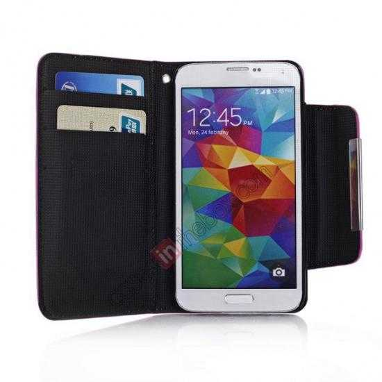 best price Matte Skin Leather Flip Wallet Case Cover for Samsung Galaxy S5 G900 - Black
