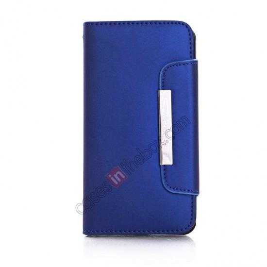 discount Matte Skin Leather Flip Wallet Case Cover for Samsung Galaxy S5 G900 - Blue