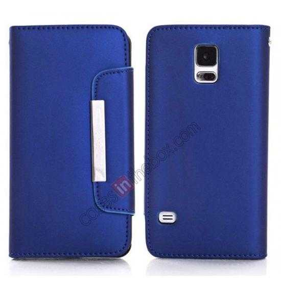 wholesale Matte Skin Leather Flip Wallet Case Cover for Samsung Galaxy S5 G900 - Blue