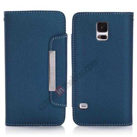 wholesale Matte Skin Leather Flip Wallet Case Cover for Samsung Galaxy S5 G900 - Dark Blue