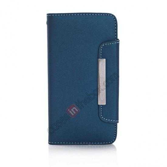 discount Matte Skin Leather Flip Wallet Case Cover for Samsung Galaxy S5 G900 - Dark Blue