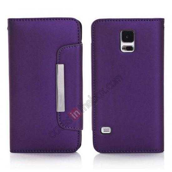 wholesale Matte Skin Leather Flip Wallet Case Cover for Samsung Galaxy S5 G900 - Purple