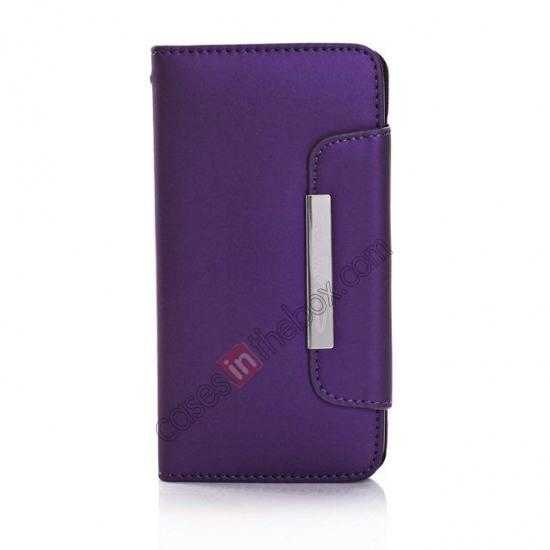 discount Matte Skin Leather Flip Wallet Case Cover for Samsung Galaxy S5 G900 - Purple