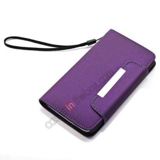 top quality Matte Skin Leather Flip Wallet Case Cover for Samsung Galaxy S5 G900 - Purple