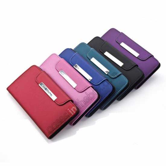 low price Matte Skin Leather Flip Wallet Case Cover for Samsung Galaxy S5 G900 - Purple