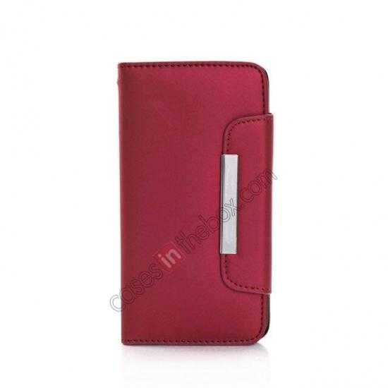 cheap Matte Skin Leather Flip Wallet Case Cover for Samsung Galaxy S5 G900 - Red