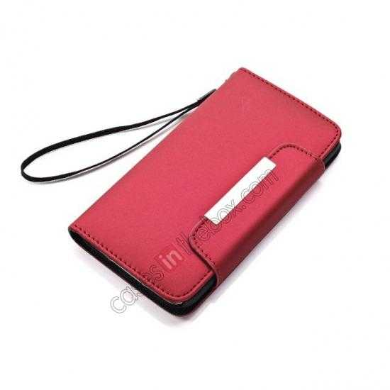 discount Matte Skin Leather Flip Wallet Case Cover for Samsung Galaxy S5 G900 - Red