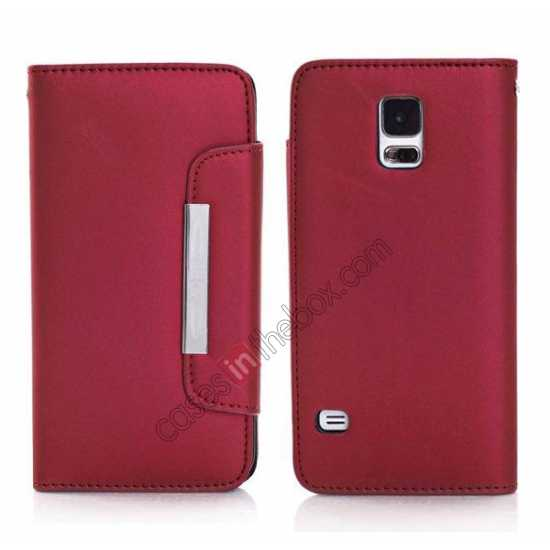 wholesale Matte Skin Leather Flip Wallet Case Cover for Samsung Galaxy S5 G900 - Red