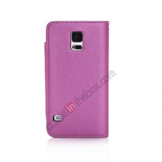 cheap Matte Skin Leather Flip Wallet Case Cover for Samsung Galaxy S5 G900 - Rose