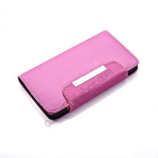top quality Matte Skin Leather Flip Wallet Case Cover for Samsung Galaxy S5 G900 - Rose