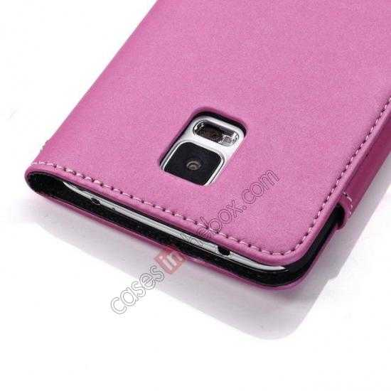 best price Matte Skin Leather Flip Wallet Case Cover for Samsung Galaxy S5 G900 - Rose