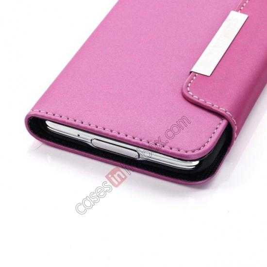 on sale Matte Skin Leather Flip Wallet Case Cover for Samsung Galaxy S5 G900 - Rose