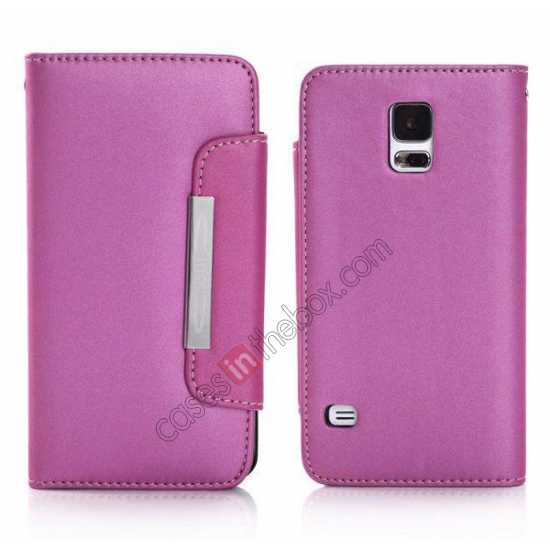 wholesale Matte Skin Leather Flip Wallet Case Cover for Samsung Galaxy S5 G900 - Rose