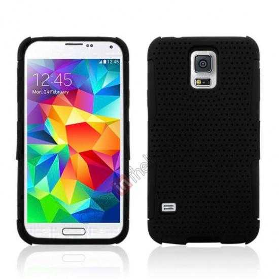 wholesale Mesh Hard Hybrid Soft Silicone Back Cover Case For Samsung Galaxy S5 - Black