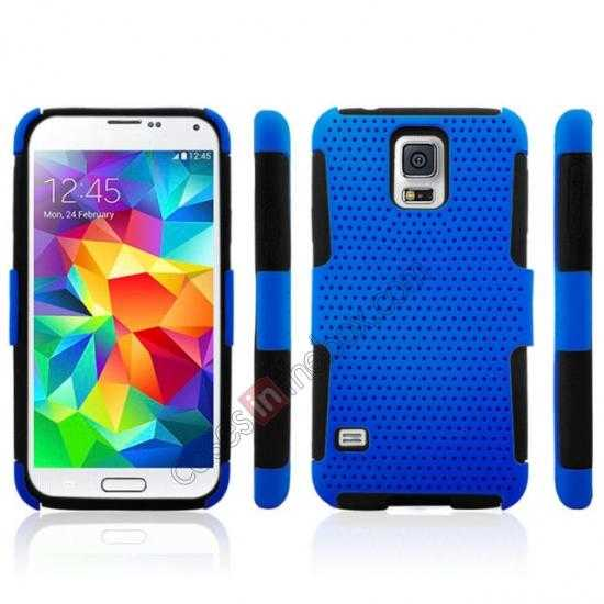 discount Mesh Hard Hybrid Soft Silicone Back Cover Case For Samsung Galaxy S5 - Black