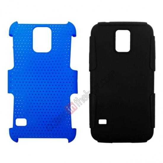 best price Mesh Hard Hybrid Soft Silicone Back Cover Case For Samsung Galaxy S5 - Black